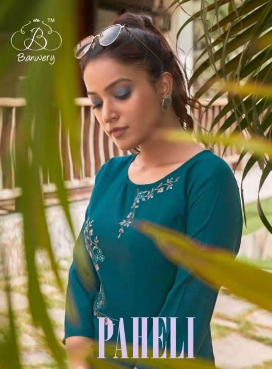 Banwery fashion Paheli heavy Cotton With Embroidery work Kurtis Collection