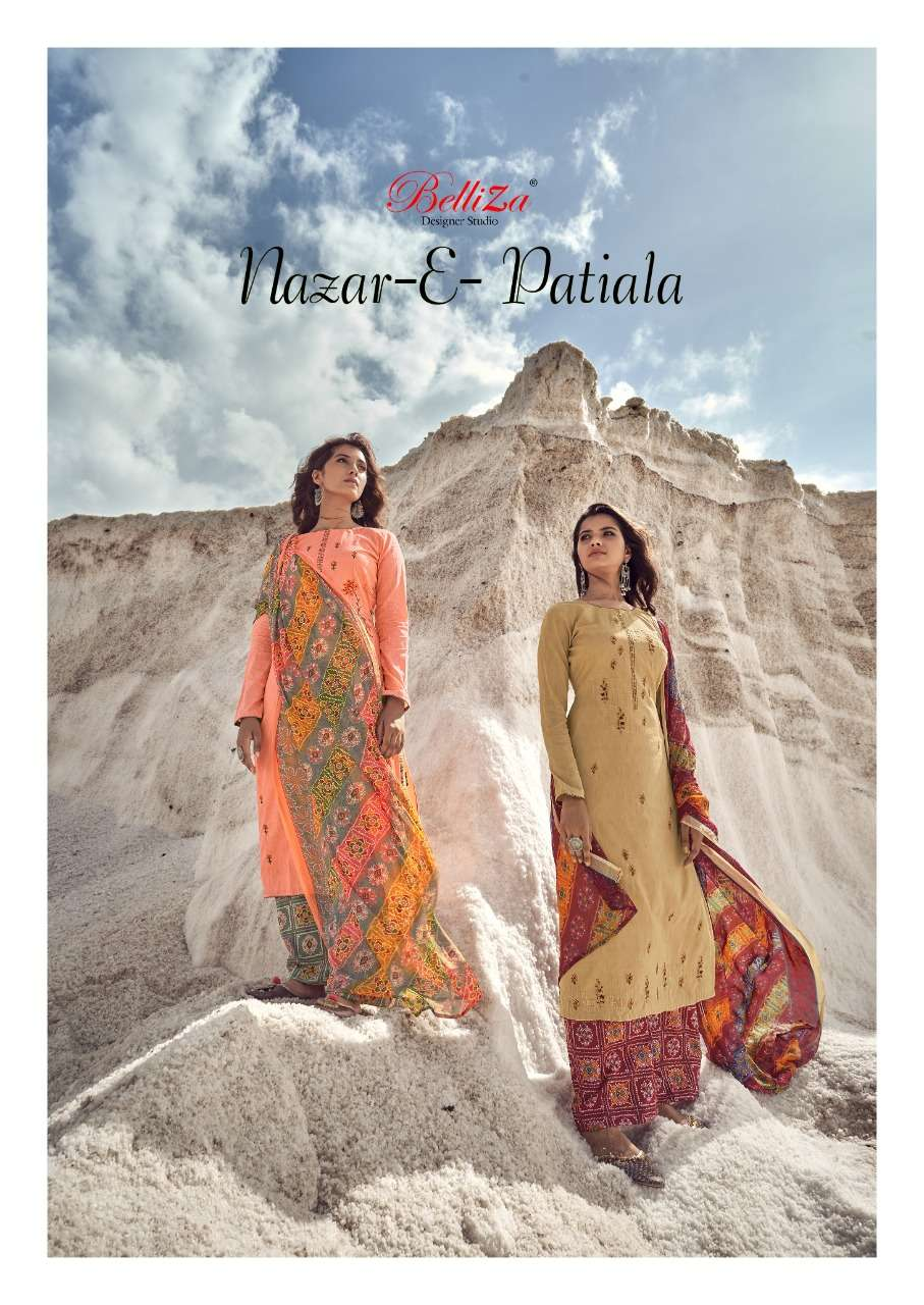 BELLIZA DESIGNER STUDIO NAZAR E PATIYALA HEAVY JAM COTTON WITH EMBROIDERY WORK DRESS MATERIAL COLLECTION