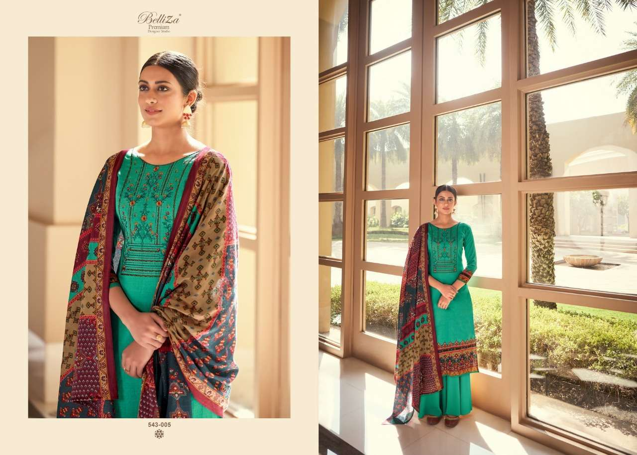 Belliza Designer Studio Riyaaz Pure Cotton Print With Fancy Embroidery Work Dress Material Collection 01