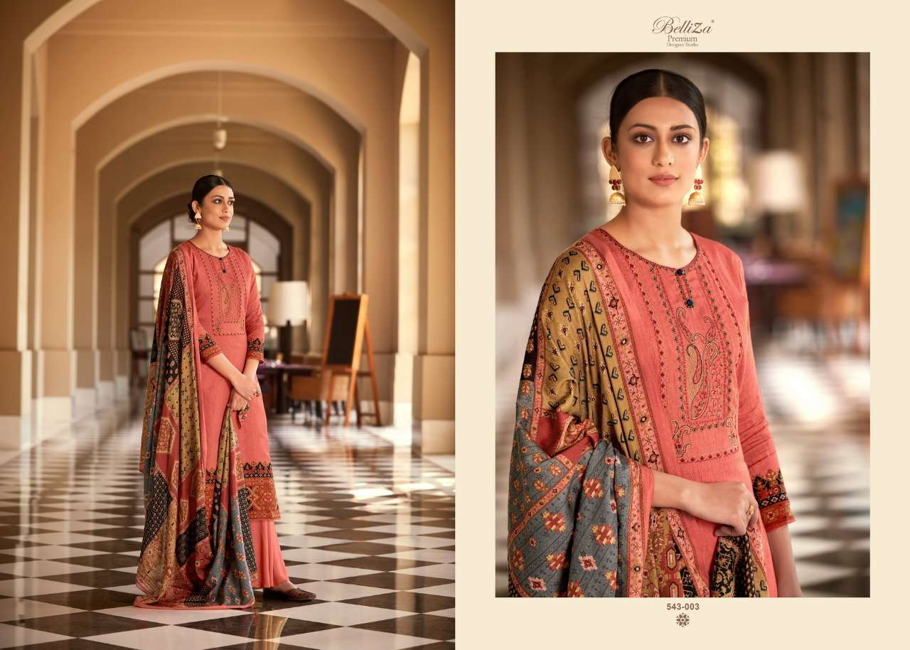Belliza Designer Studio Riyaaz Pure Cotton Print With Fancy Embroidery Work Dress Material Collection 06