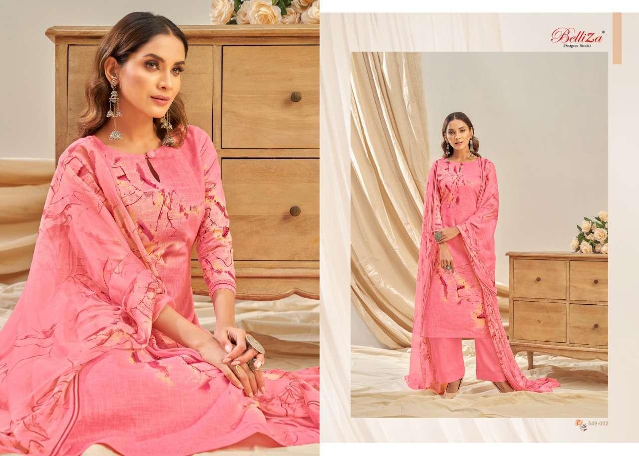 Belliza Designer Studio Rukhsar Cotton Linen With Digital Print Dress Material Collection 01