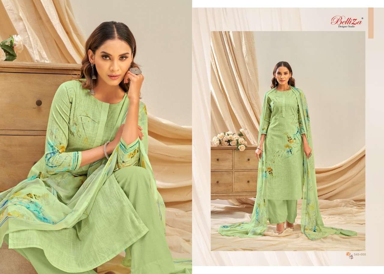 Belliza Designer Studio Rukhsar Cotton Linen With Digital Print Dress Material Collection 012