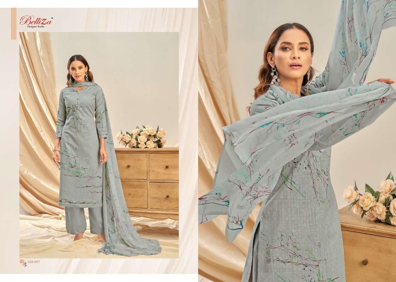 Belliza Designer Studio Rukhsar Cotton Linen With Digital Print Dress Material Collection 04
