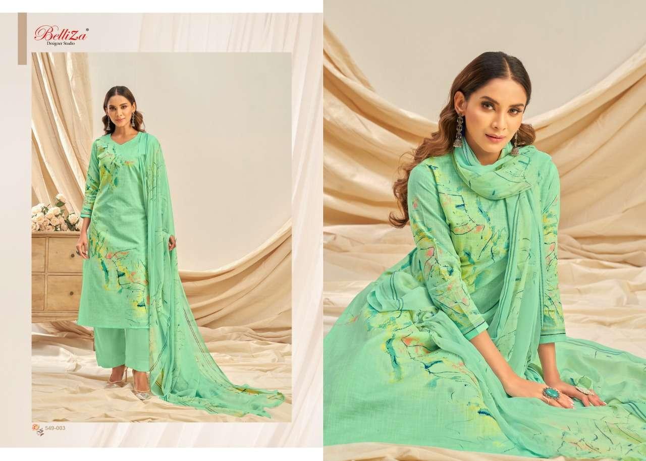Belliza Designer Studio Rukhsar Cotton Linen With Digital Print Dress Material Collection 07