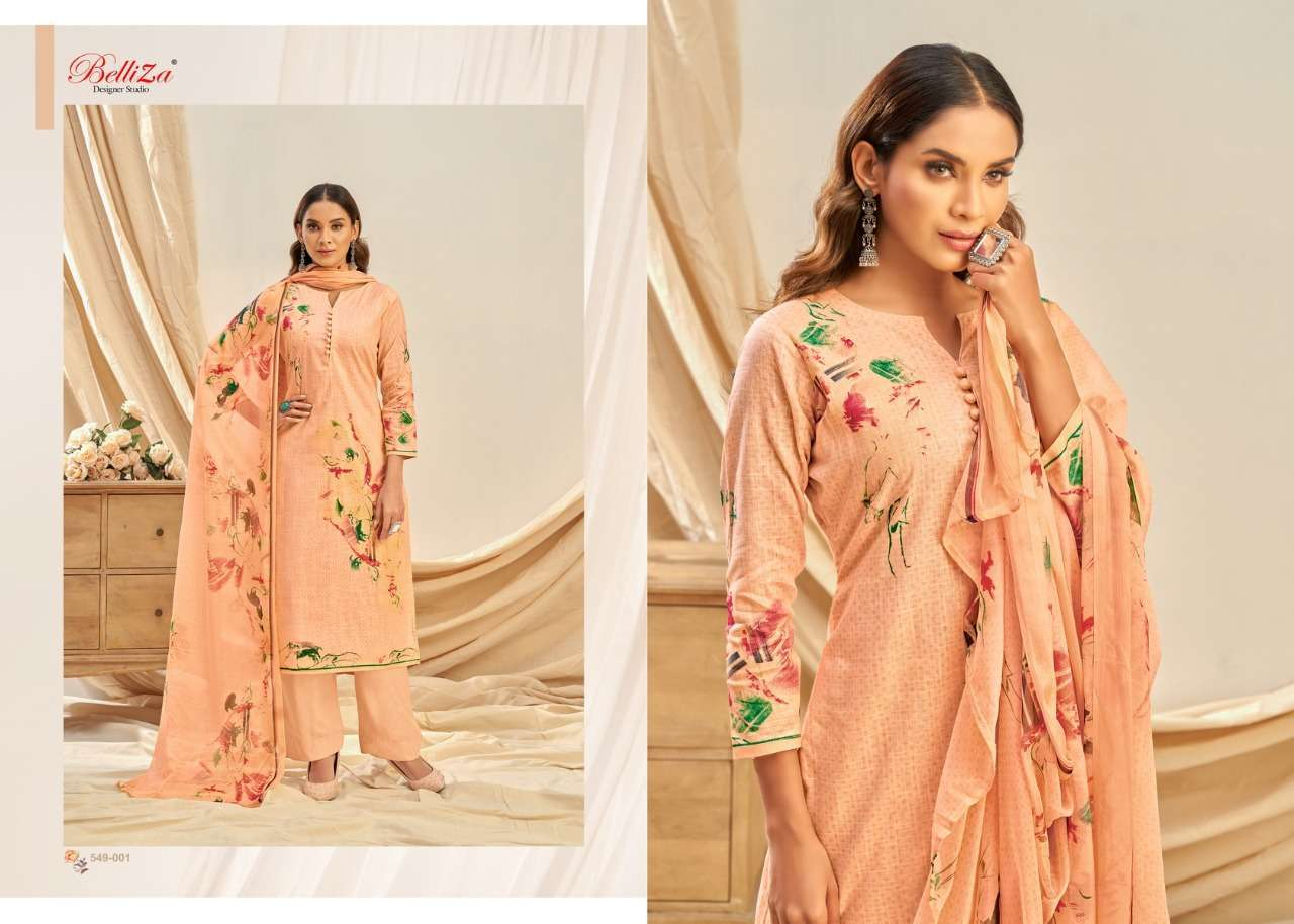 Belliza Designer Studio Rukhsar Cotton Linen With Digital Print Dress Material Collection  08