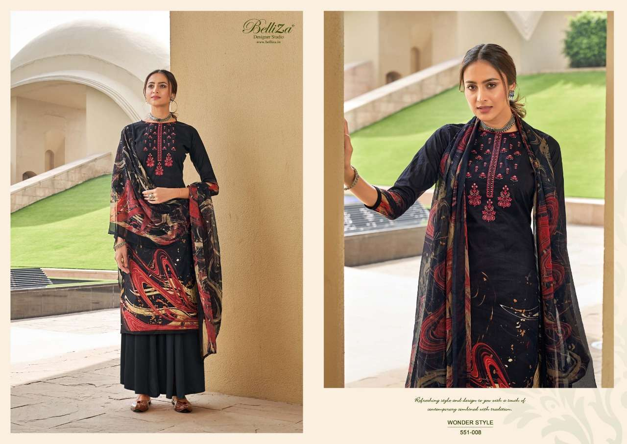 Belliza Designer Studio Wonder Style Cotton Digital Print With Embroidery Work Dress Material Collection 01