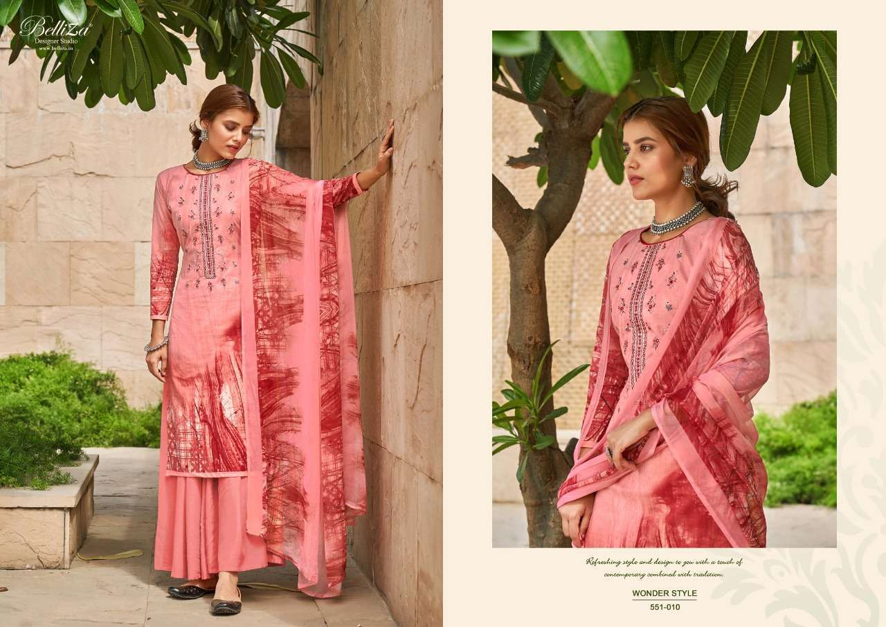 Belliza Designer Studio Wonder Style Cotton Digital Print With Embroidery Work Dress Material Collection 02