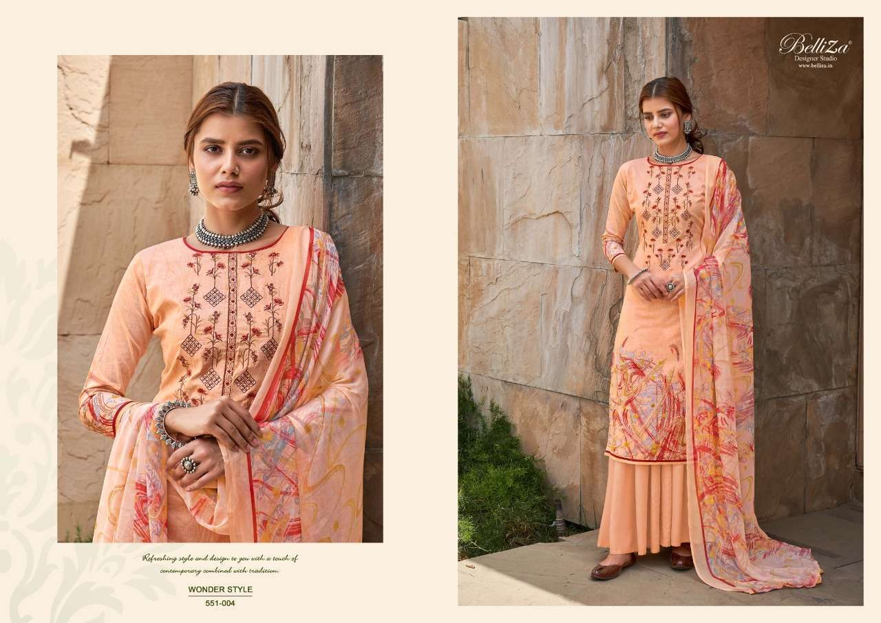 Belliza Designer Studio Wonder Style Cotton Digital Print With Embroidery Work Dress Material Collection 03
