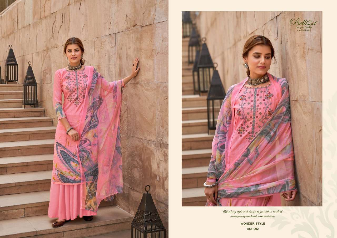 Belliza Designer Studio Wonder Style Cotton Digital Print With Embroidery Work Dress Material Collection 04