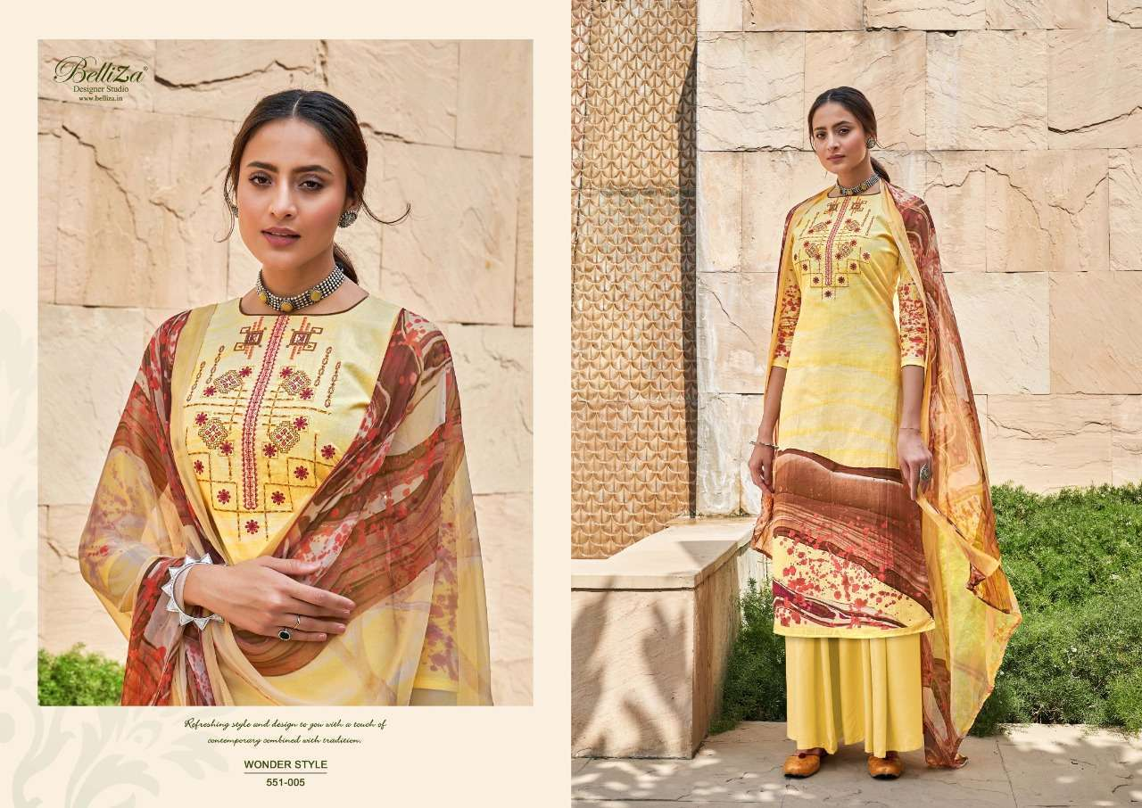 Belliza Designer Studio Wonder Style Cotton Digital Print With Embroidery Work Dress Material Collection 05