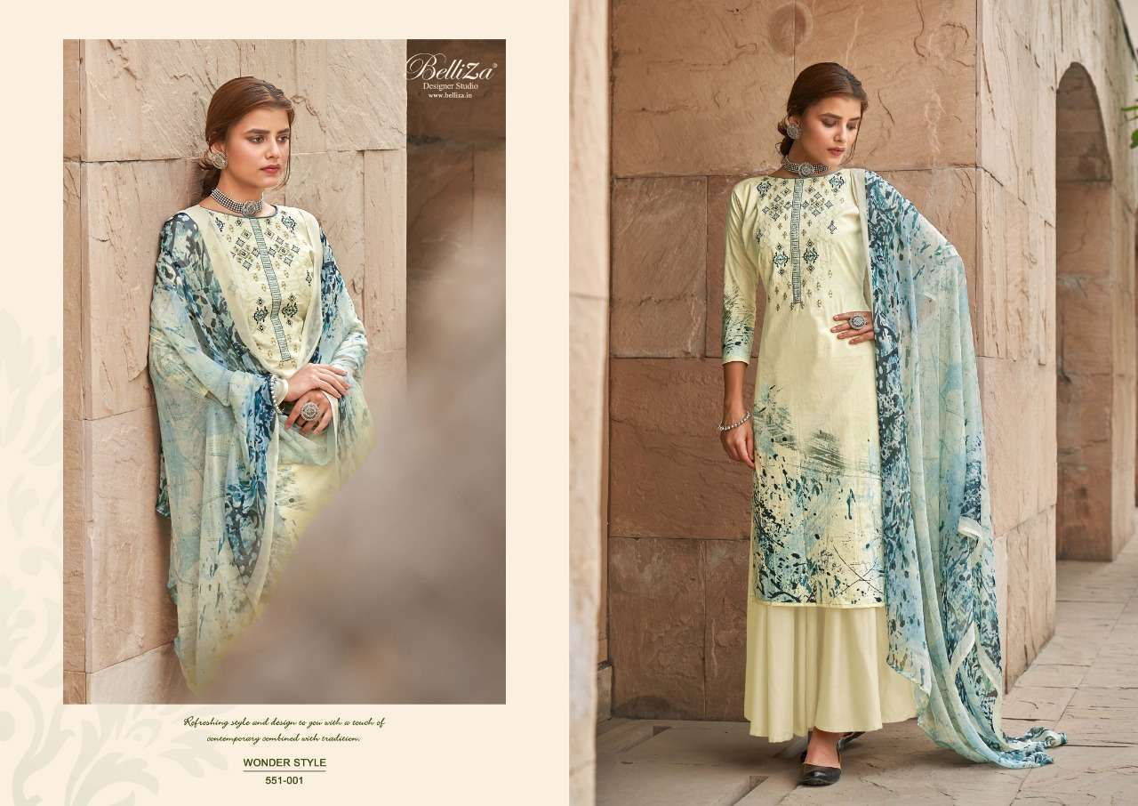 Belliza Designer Studio Wonder Style Cotton Digital Print With Embroidery Work Dress Material Collection 06
