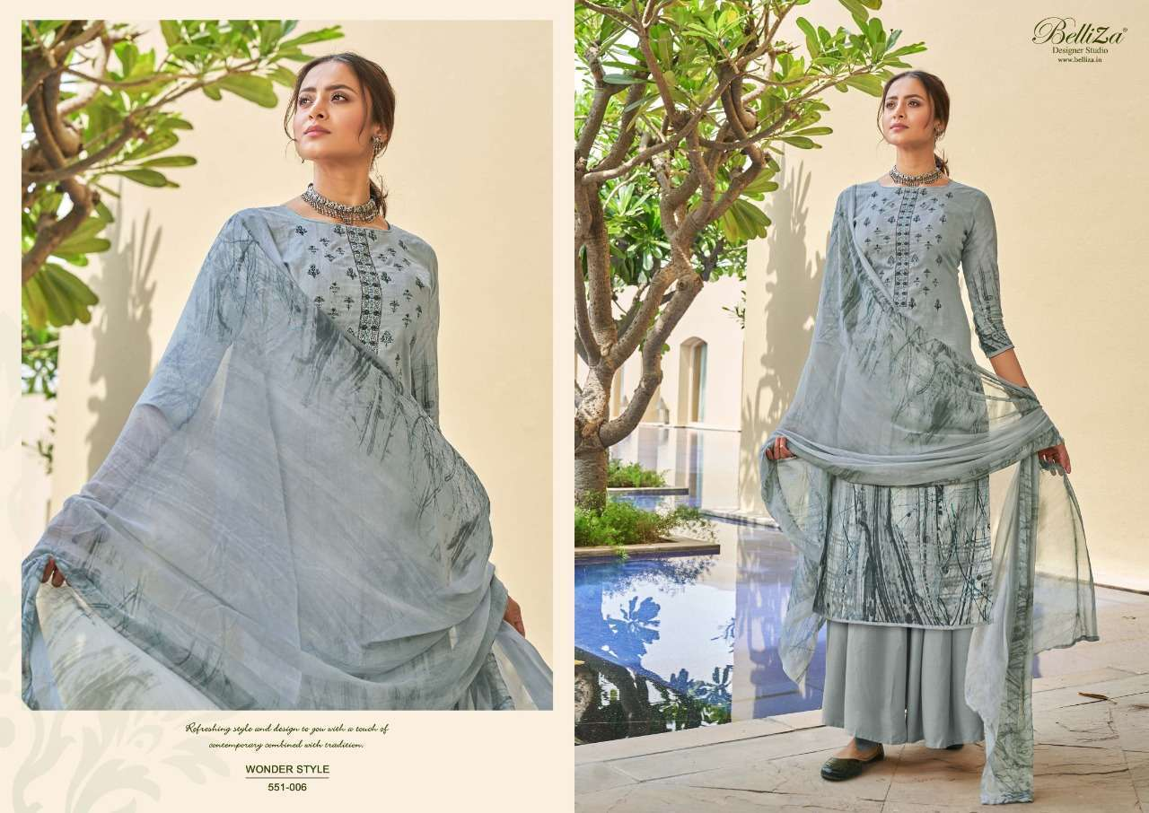 Belliza Designer Studio Wonder Style Cotton Digital Print With Embroidery Work Dress Material Collection 07