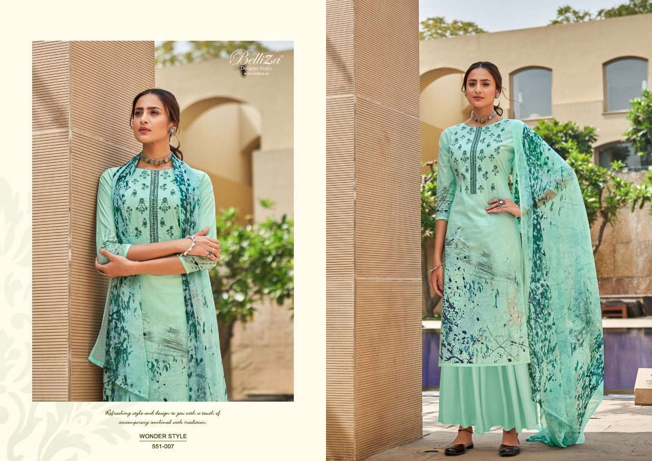 Belliza Designer Studio Wonder Style Cotton Digital Print With Embroidery Work Dress Material Collection 08