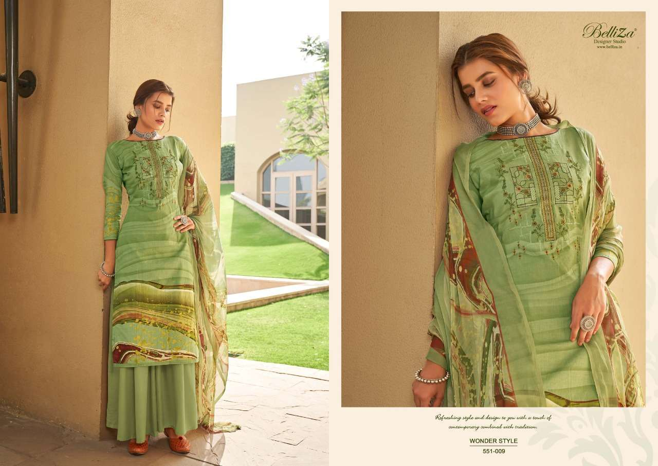 Belliza Designer Studio Wonder Style Cotton Digital Print With Embroidery Work Dress Material Collection 09
