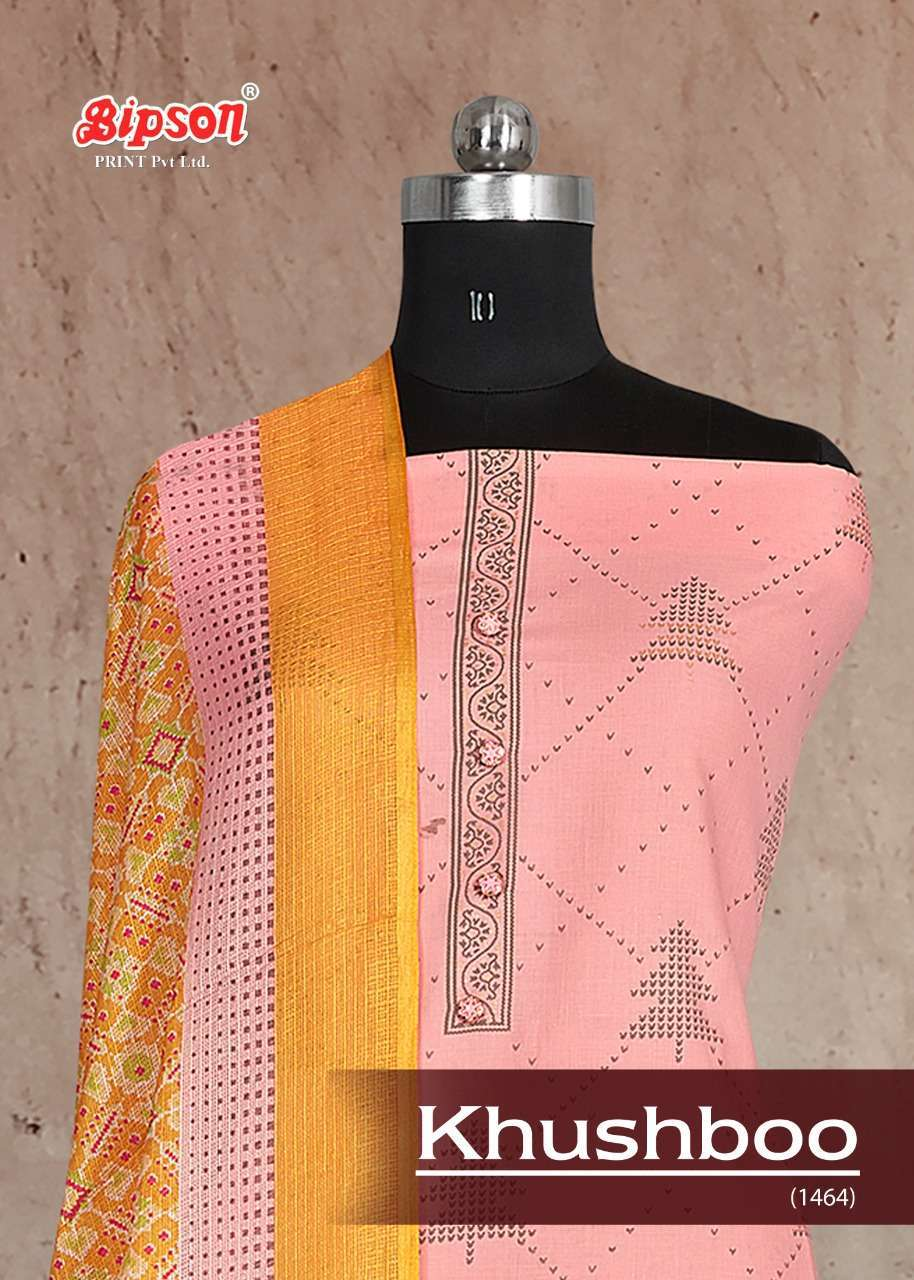 Bipson Fashion Khushboo 1464 Pure Cotton Gold Print With Work Dress Material Collection