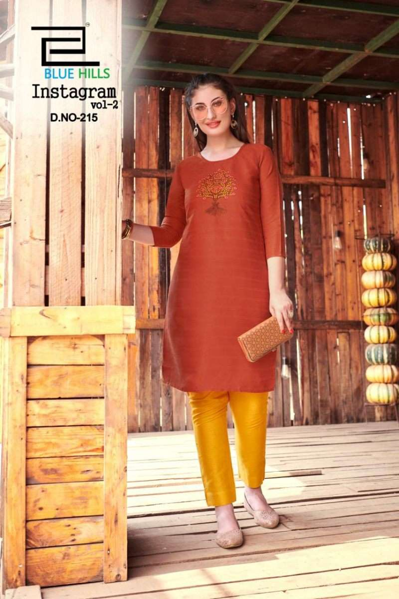 BLUE HILLS INSTAGRAM VOL 2 COTTON WITH EMBROIDERY WORK KURTIS COLLECTION