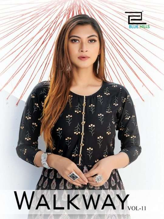Blue Hills Walkway Vol 11 Rayon With Gola Print Long gown Kurtis Collection