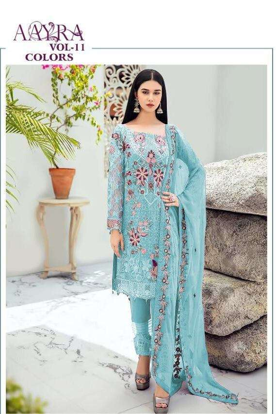 Cosmos Aayra Vol 11 Faux Georgette With heavy embroidery Work Pakistani Suits collection