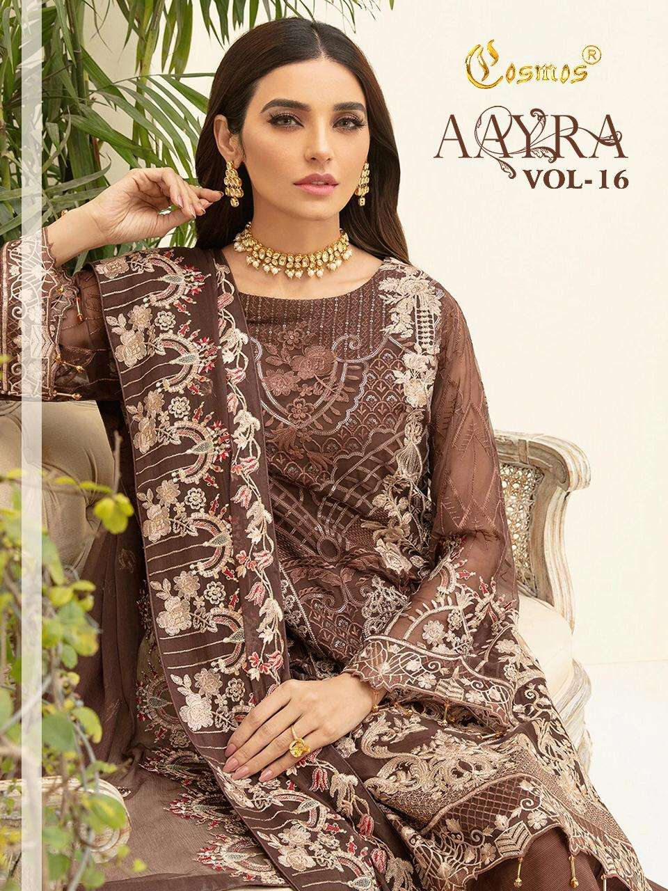 Cosmos Aayra Vol 16 Faux Georgette Net With Embroidery Work Pakistani Suits Collection