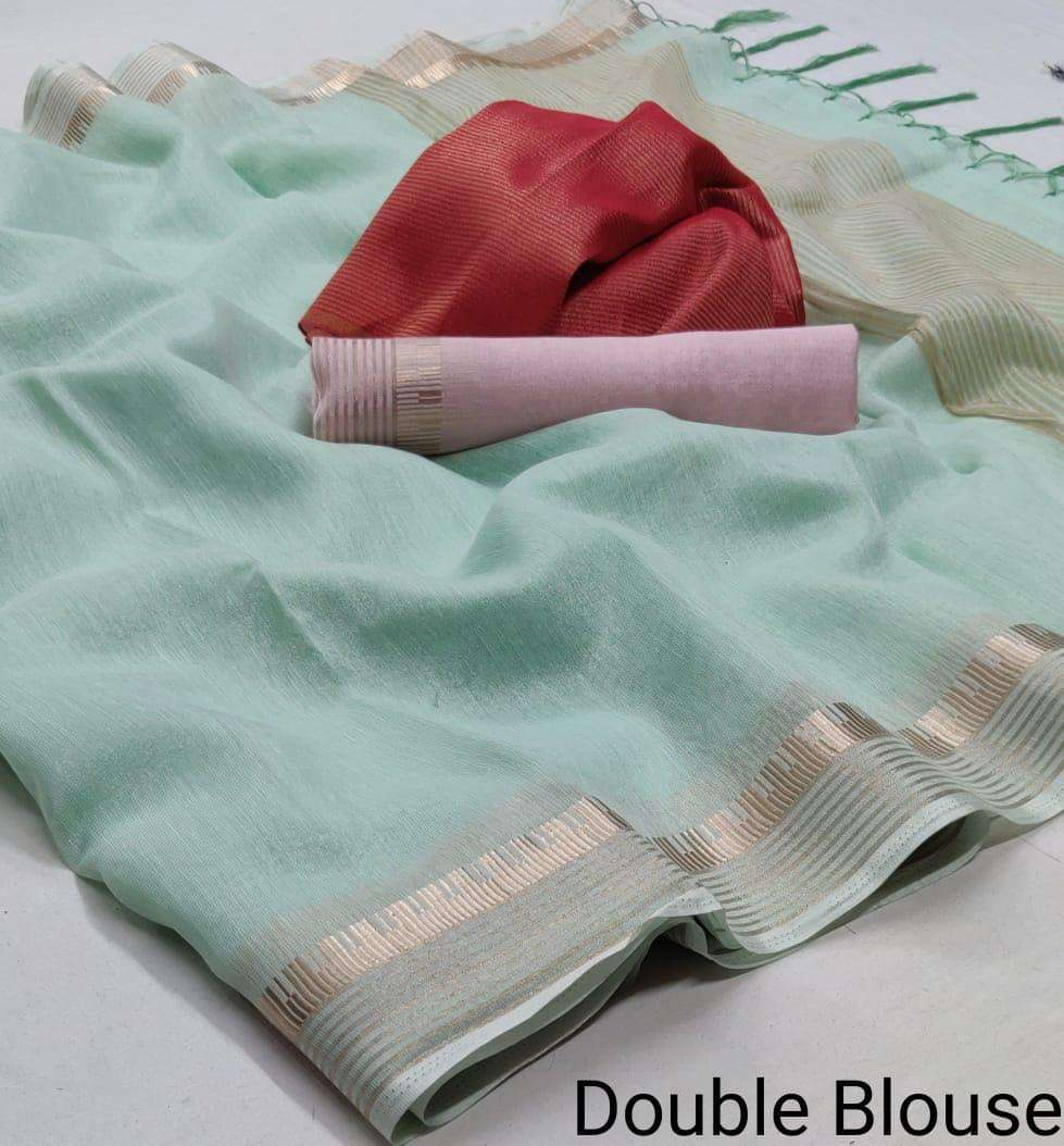 cotton silk with double blouse regular wear saree collection 08