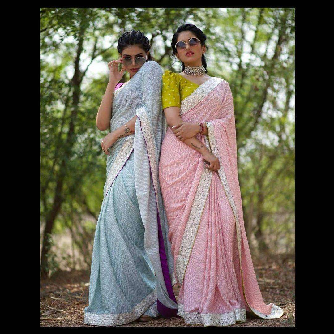 Daisy Georgette Sequence Work Party Wear Sarees Collection 02