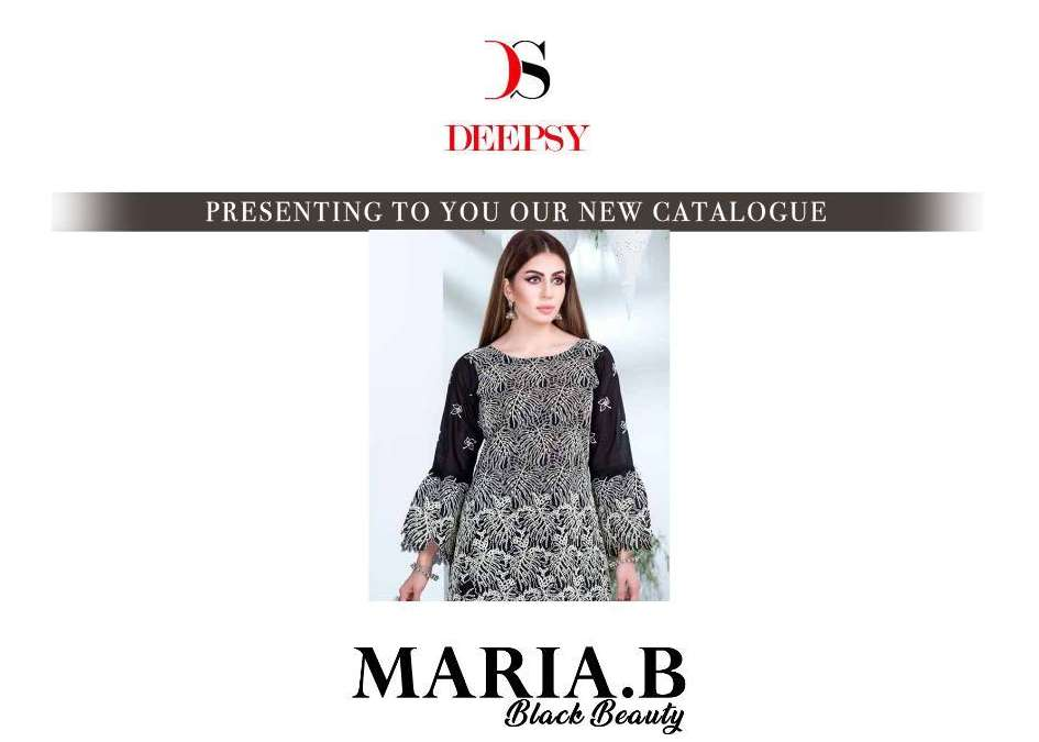 Deepsy Suits Maria B Black Beauty Pure cotton With Handwork Pakistani Suits Collection