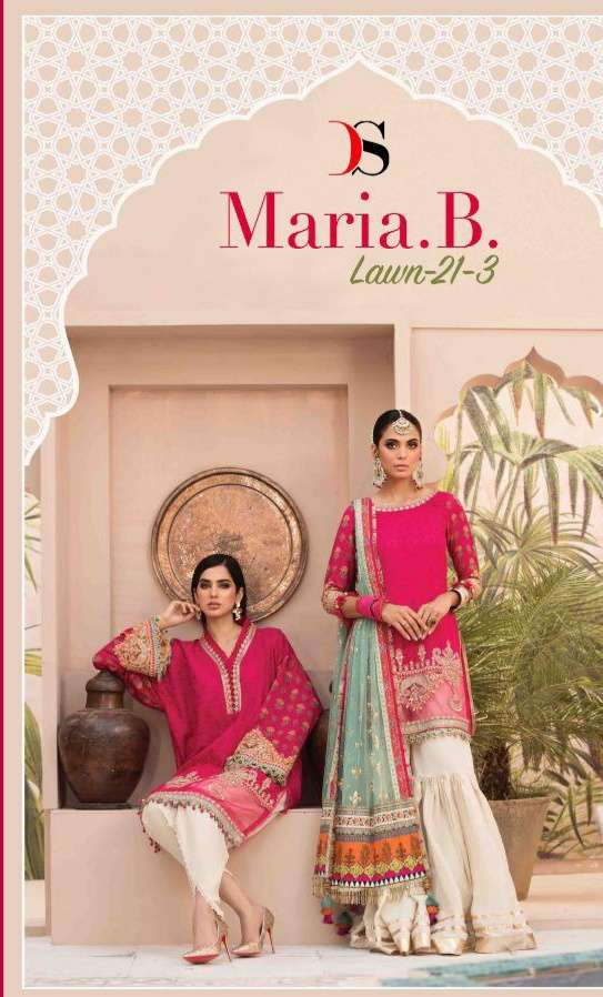 Deepsy Suits Maria B Lawn 21-03 Cotton Print With Embroidery work Pakistani Suits Collection