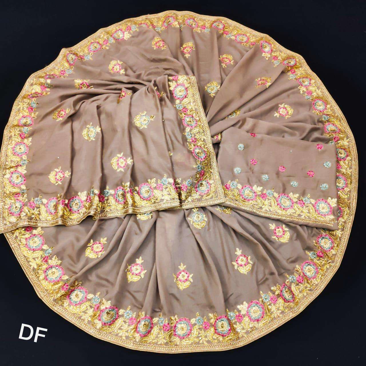 Df 4024 Vichitra Silk Georgette With Multi Embroidery Zari Work Sarees Collection 007