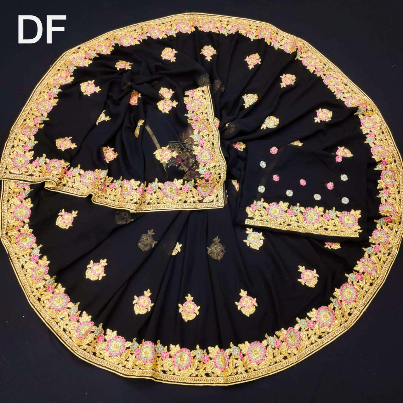 Df 4024 Vichitra Silk Georgette With Multi Embroidery Zari Work Sarees Collection 02