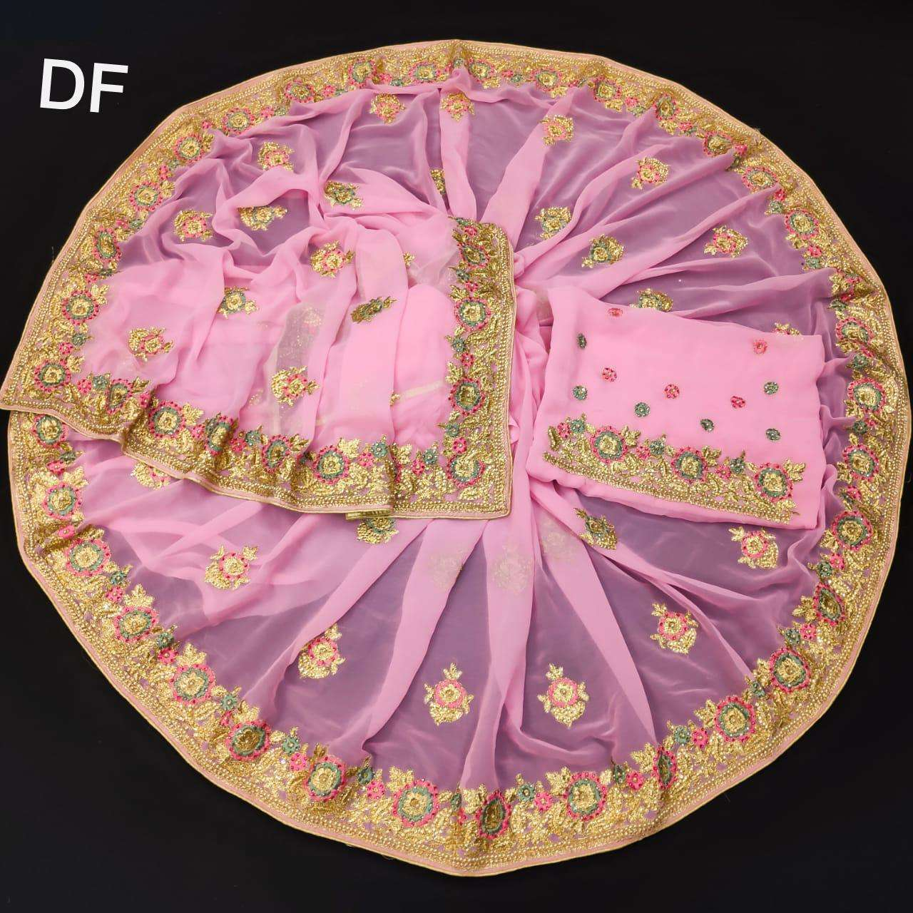 Df 4024 Vichitra Silk Georgette With Multi Embroidery Zari Work Sarees Collection  04