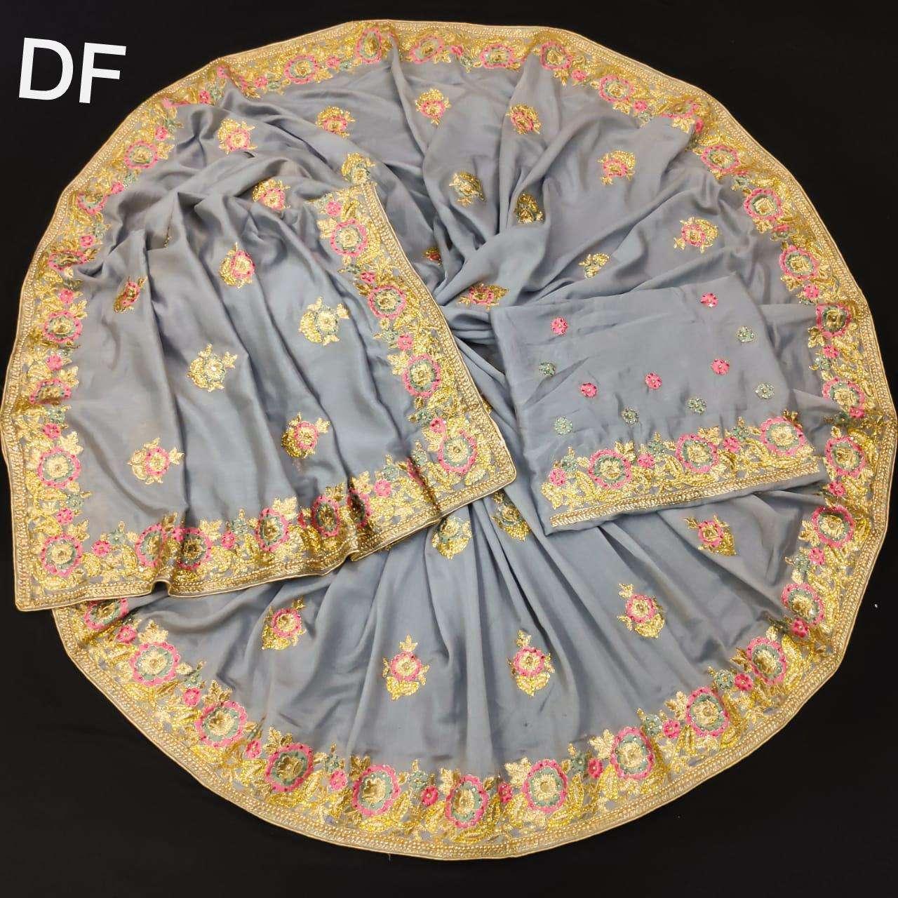 Df 4024 Vichitra Silk Georgette With Multi Embroidery Zari Work Sarees Collection 3