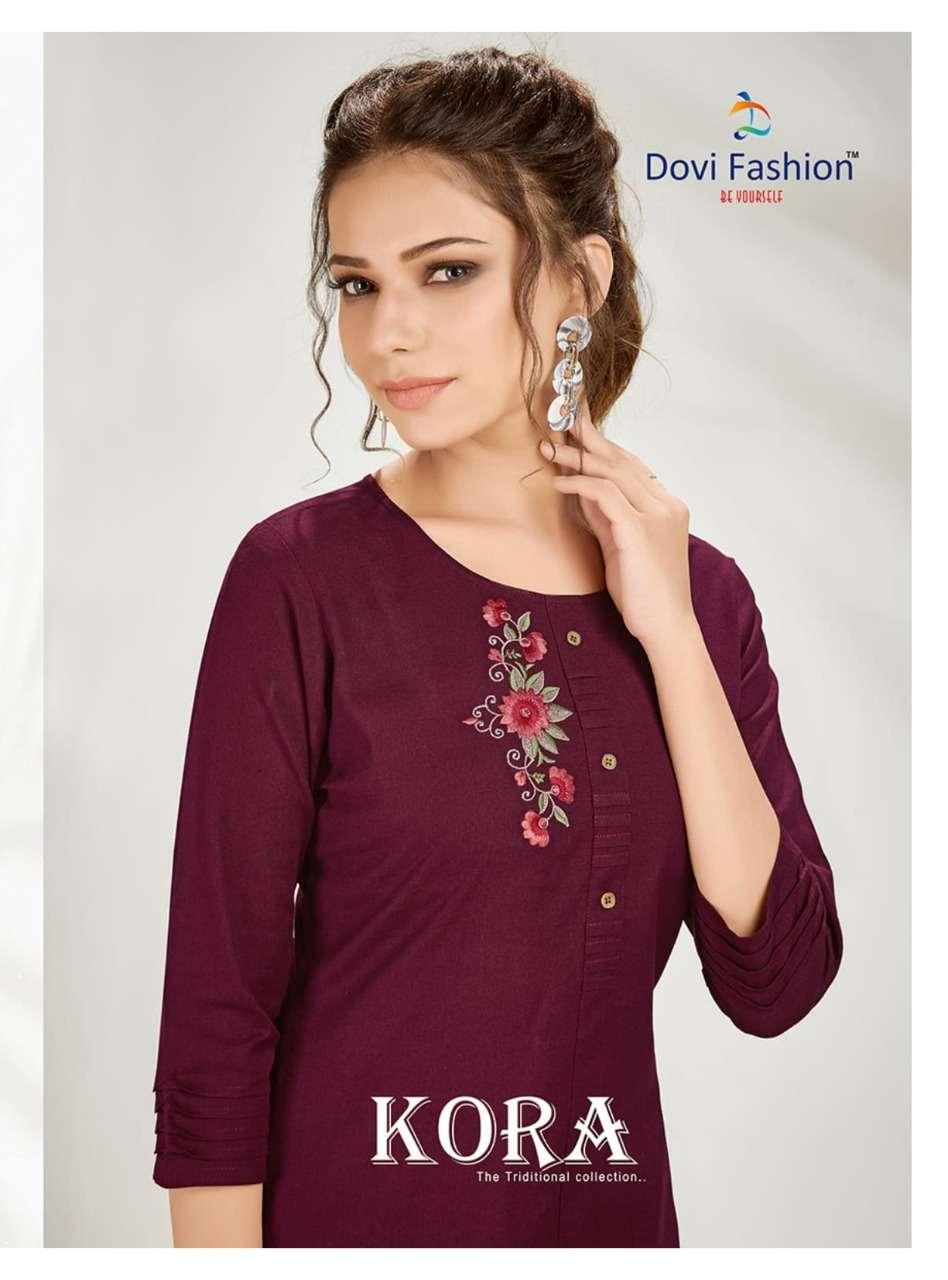 Dovi fashion Kora Cotton With Embroidery Work Kurtis With Pant Collection