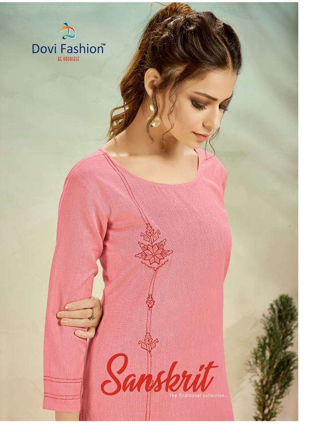 Dovi fashion Sanskrit Cotton With Embroidery Work Kurti With Palazzo Collection