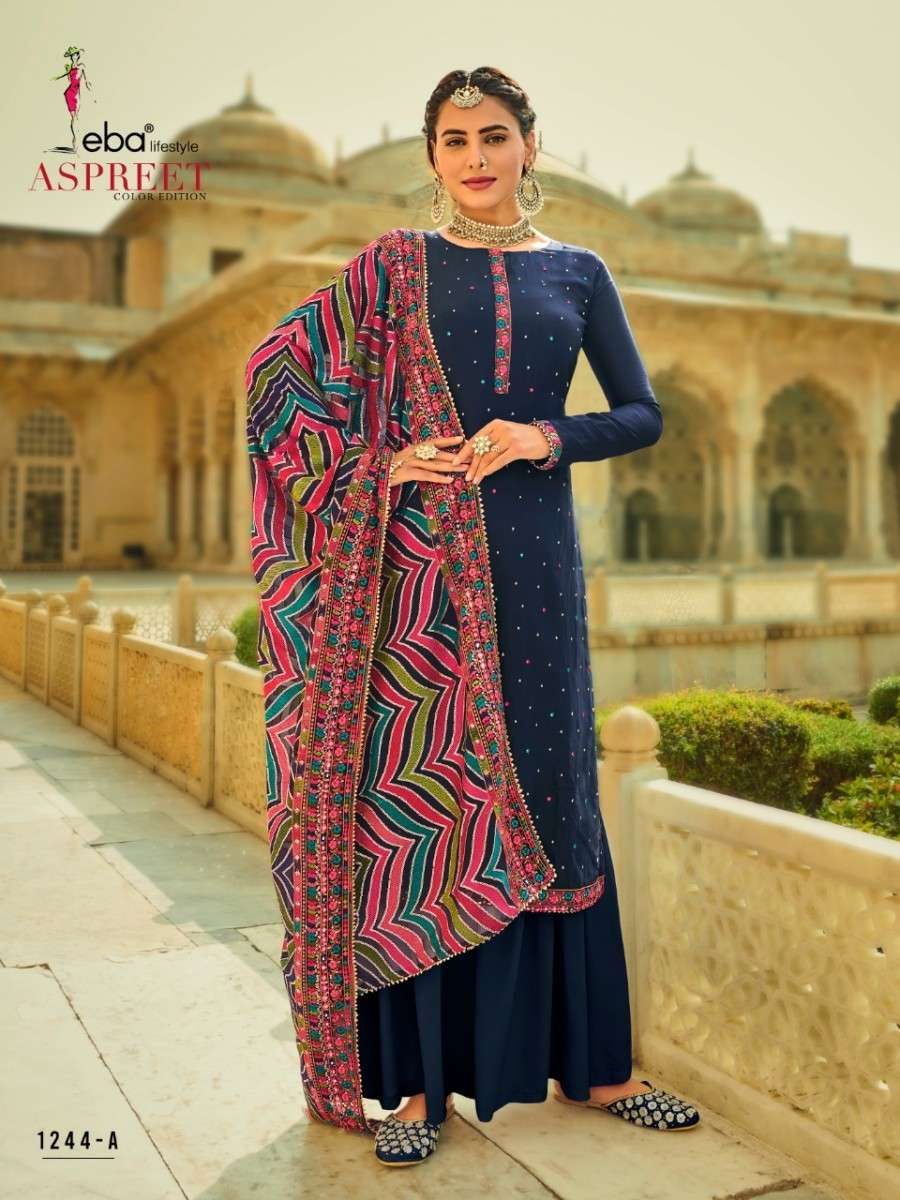 EBA LIFESTYLE ASPREET COLOR EDITION HEAVY CHINON WITH EMBROIDERY WORK SALWAR KAMEEZ COLLECTION