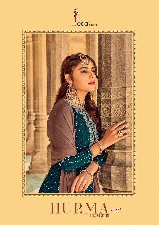 EBA LIFESTYLE HURMA COLOR EDITION VOL 34 FAUX GEORGETTE WITH HEAVY EMBROIDERY DIAMOND WORK DRESS MATERIAL COLLECTION