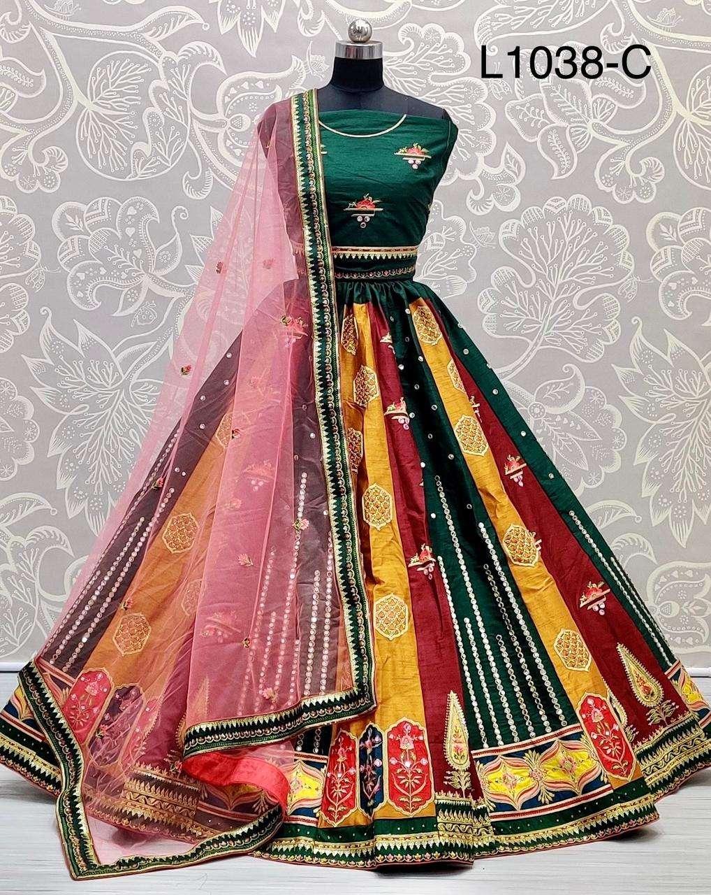 Fancy embroidery and mirror work Designer wedding Lehenga choli