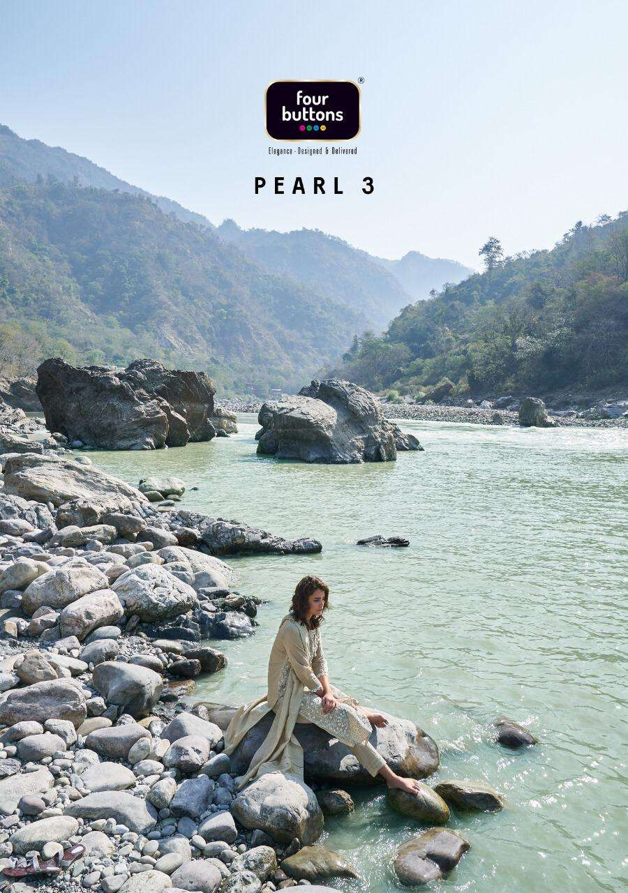 Four Buttons Pearl Vol 3 Viscose Chanderi With LAKHNAVI Work Kurti With Bottom Dupatta Collection
