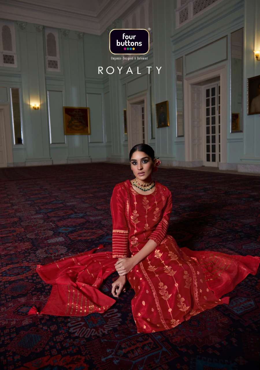 Four Buttons Royalty Pure Viscose Jacquard readymade Salwar Kameez Collection