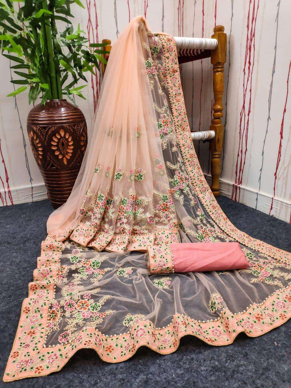 Heavy Nylon Net With heavy embroidery Work Party Wear Sarees Collection