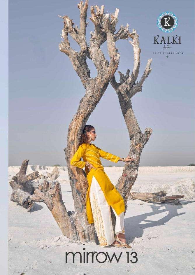 Kalki Fashion Mirrow Vol 13 Cotton With Embroidery Work Kurti With Plazzo Collection