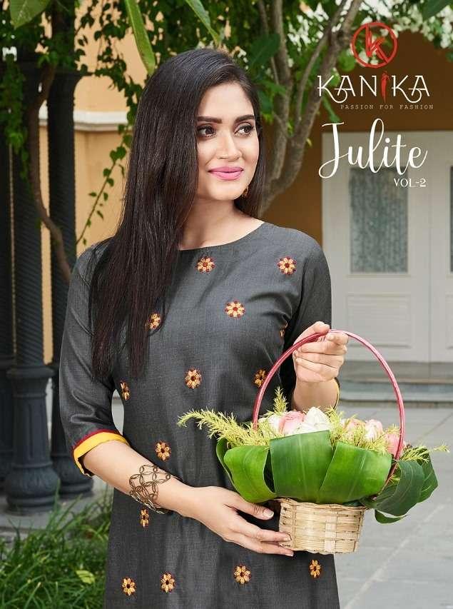 Kanika Fashion Julite Vol 2 Ruby Slub With Embroidery Work Kurti With bottom Collection