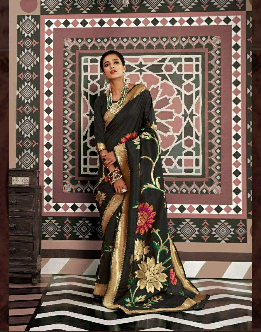 Kehri Silk PARTY WEAR BLACK SAREE COLLECTION