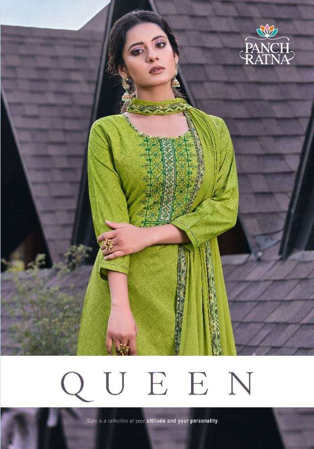 KESSI FABRICS PANCH RATNA QUEEN SOFT COTTON PRINT WITH SEQUENCE WORK DRESS MATERIAL COLLECTION