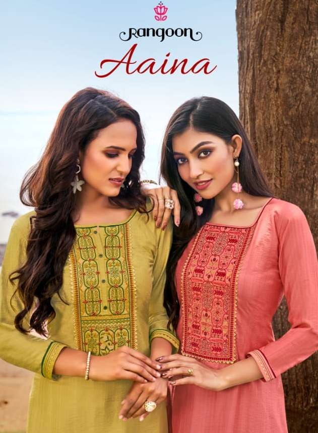 Kessi fabrics rangoon aaina heavy Viscose With Sequence Work Kurtis collection