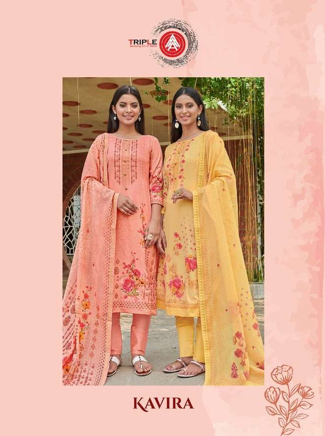 Kessi fabrics Triple A Kavira Cotton Satin Digital Print With Swarovski Diamond Work Dress Material