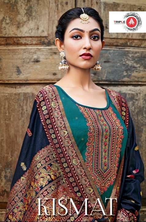 Kessi fabrics Triple A Kismat Jam Silk Embroidery With Swarovski Diamond Work Dress Material Collection