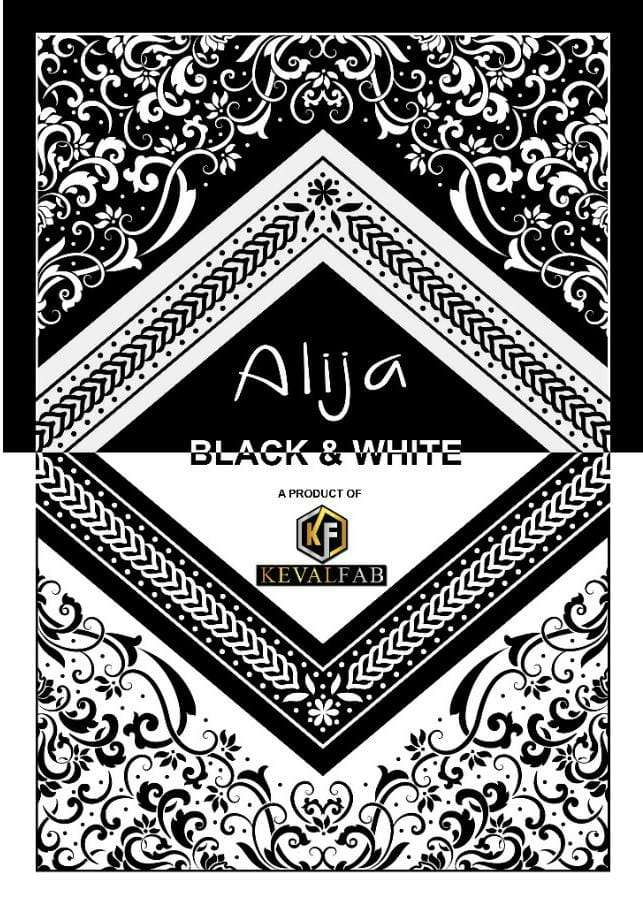 KEVAL FAB ALIJA BLACK AND WHITE COTTON PRINTED DRESS MATERIAL COLLECTION