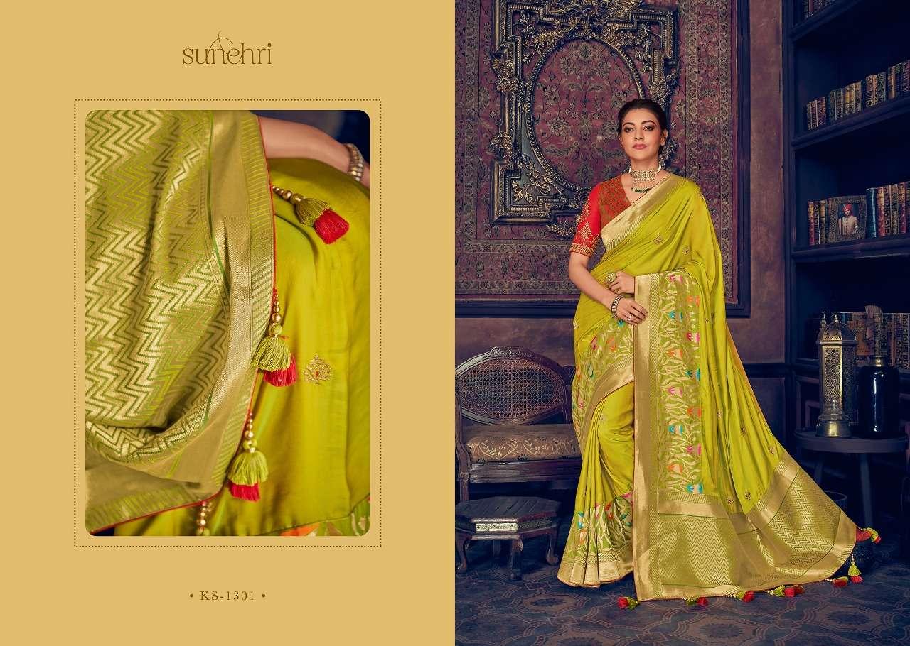 Kimora Fashion Sunehri Vol 13 Heavy Designer Silk With Embroidery Work Sarees Collection  01