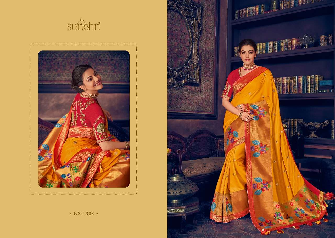 Kimora Fashion Sunehri Vol 13 Heavy Designer Silk With Embroidery Work Sarees Collection  03