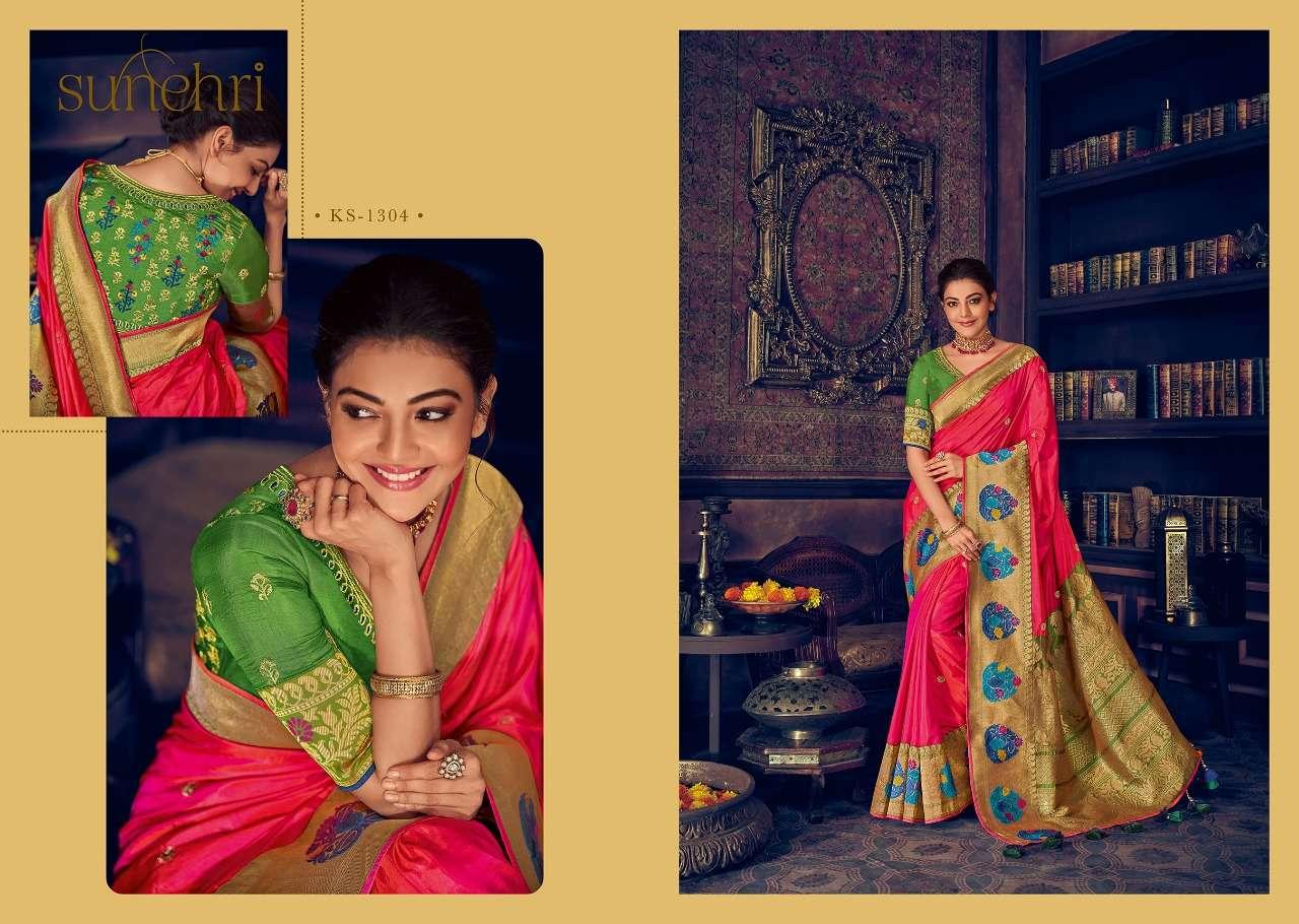 Kimora Fashion Sunehri Vol 13 Heavy Designer Silk With Embroidery Work Sarees Collection  04